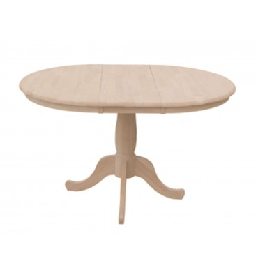 [48 Inch] Round Extension Dining Table with Traditional Pedestal Base