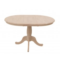 [48 Inch] Round Extension Dining Table with Traditional Pedestal Base (Unfinished, opened)