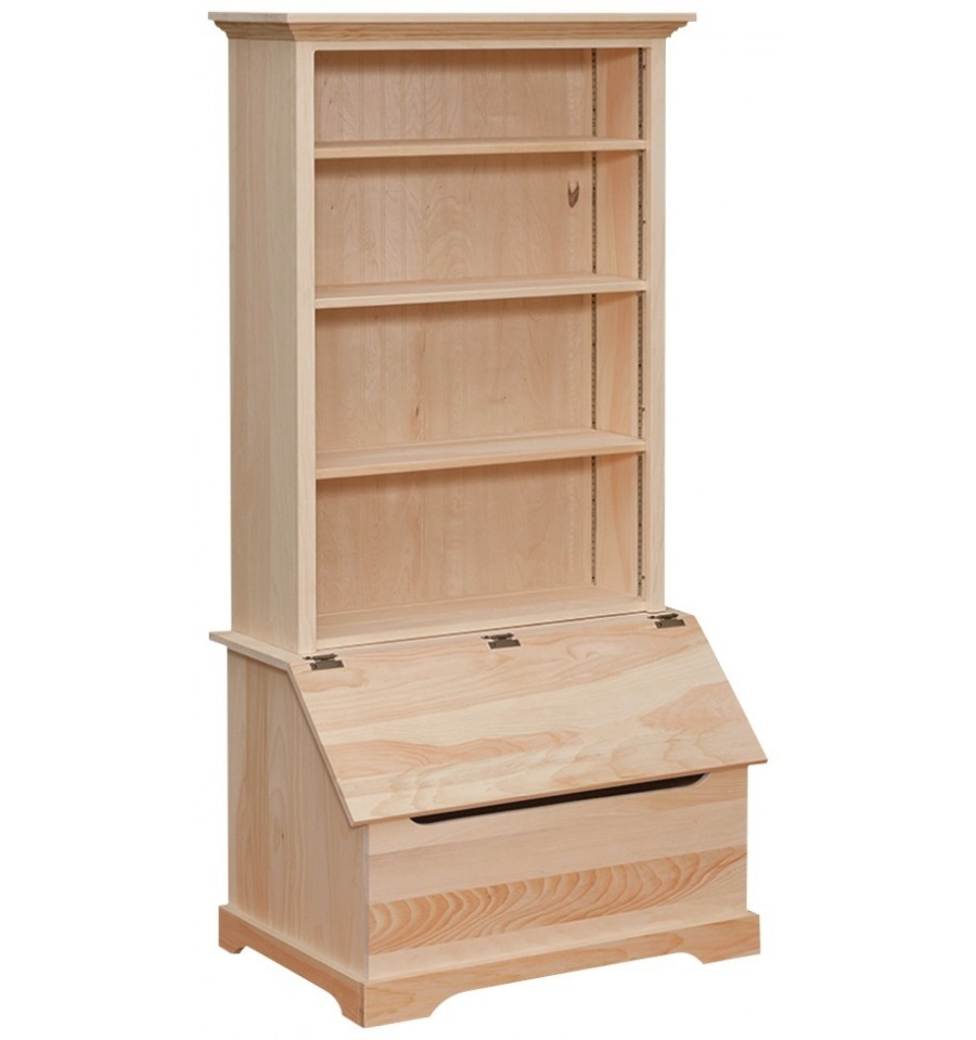 Country Bookshelf With Slant Front Chest