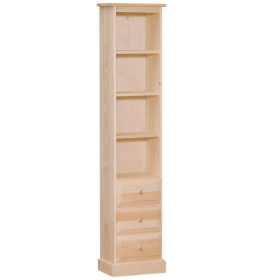 [15 Inch] Flat Top Chimney Bookshelf with Drawers (unfinished)