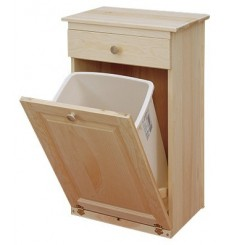 Trash Bin with Drawer (unfinished, closed)
