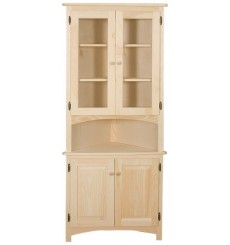 Corner Hutch with Glass Doors (unfinished)