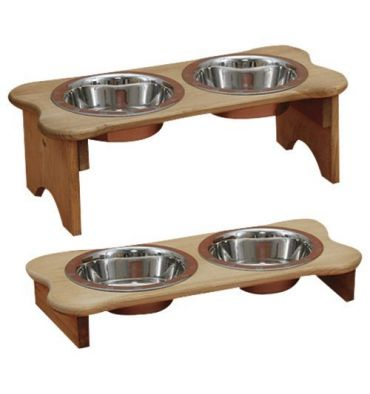 Tall Dog Bone Feeder with Oil Stain