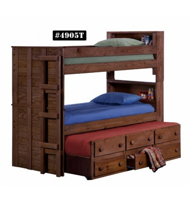 Twin Bookcase Bunk Bed W Twin Trundle Unit Wood N Things Furniture