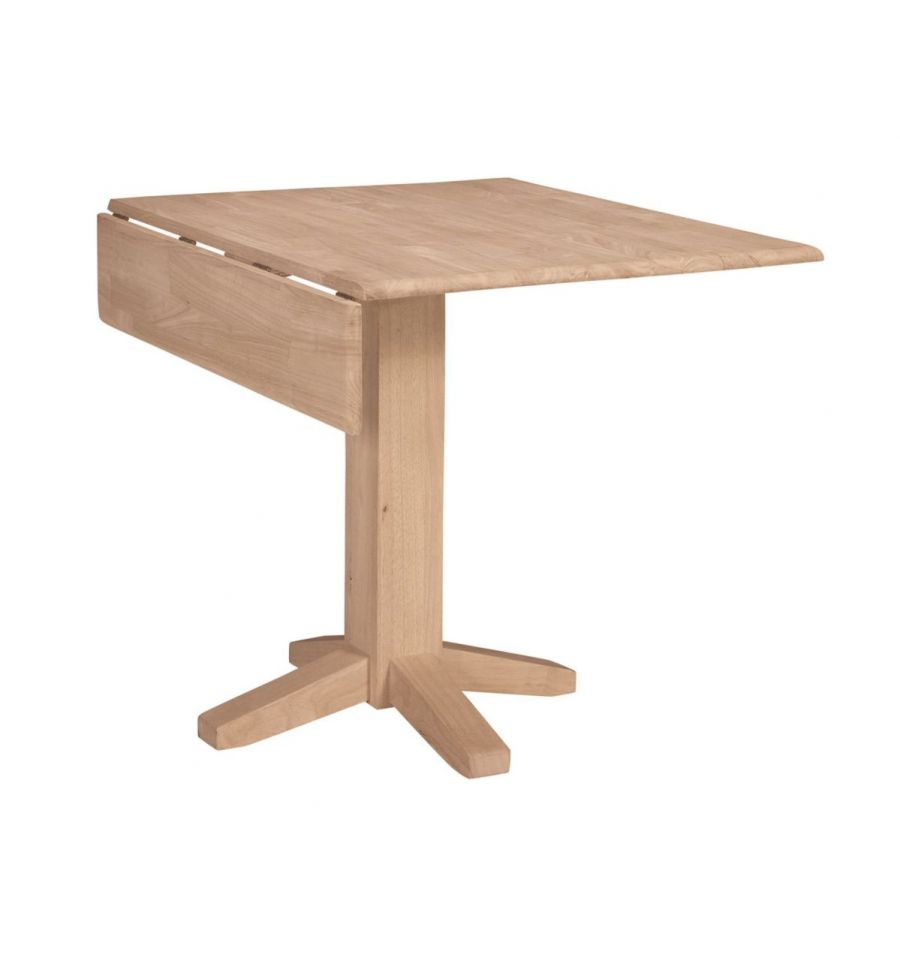 36 inch dropleaf dining table with square pedestal