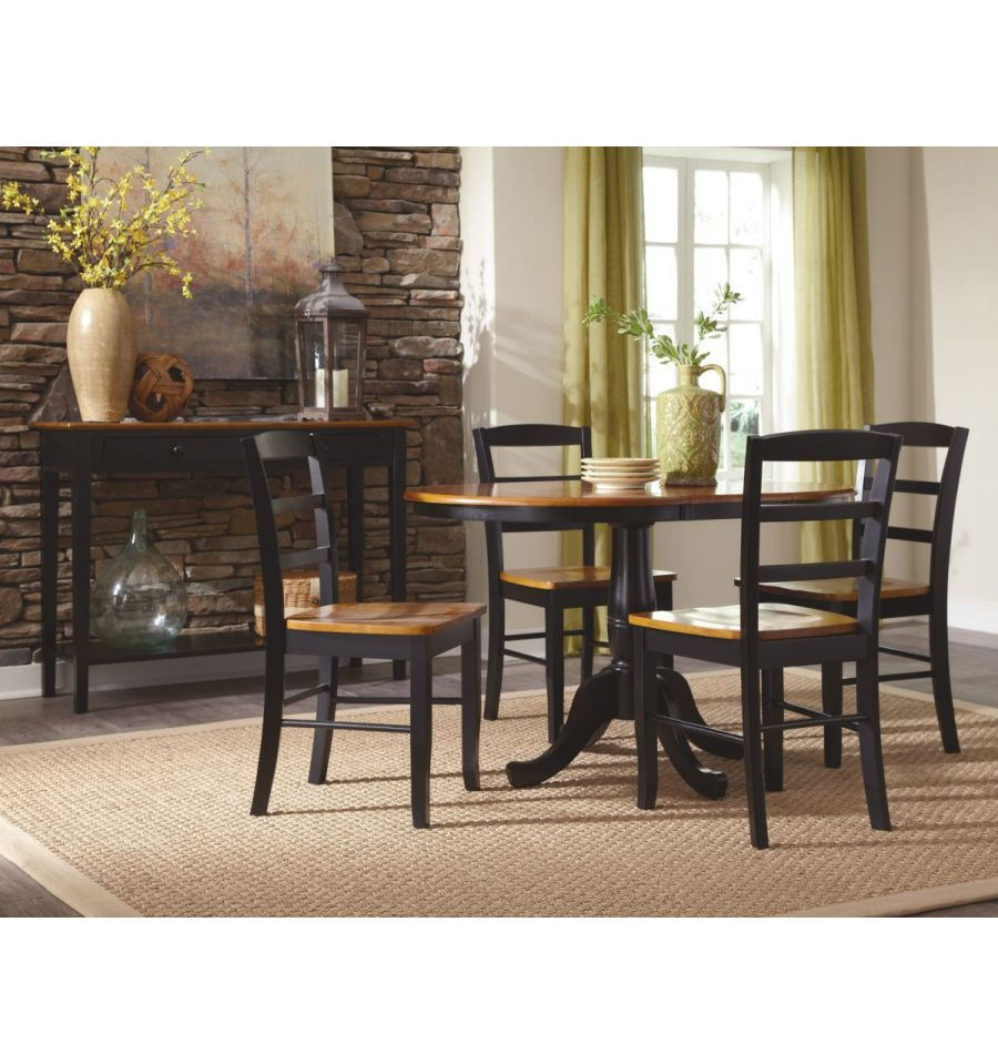 48 Inch Round Extension Dining Table with Traditional ...