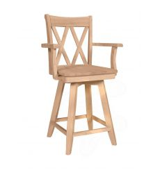 Double XX-Back Swivel Counter Arm Stool (unfinished)