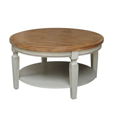 [38 Inch] Vista Round Coffee Table (hickory & stone)