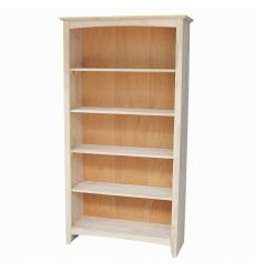 [60 Inch] Shaker Bookcases (no flush sides, unfinished)