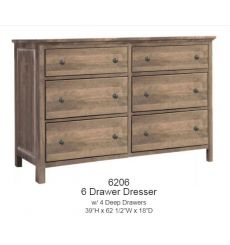 [62 Inch] Heritage 6 Drawer Double Dresser